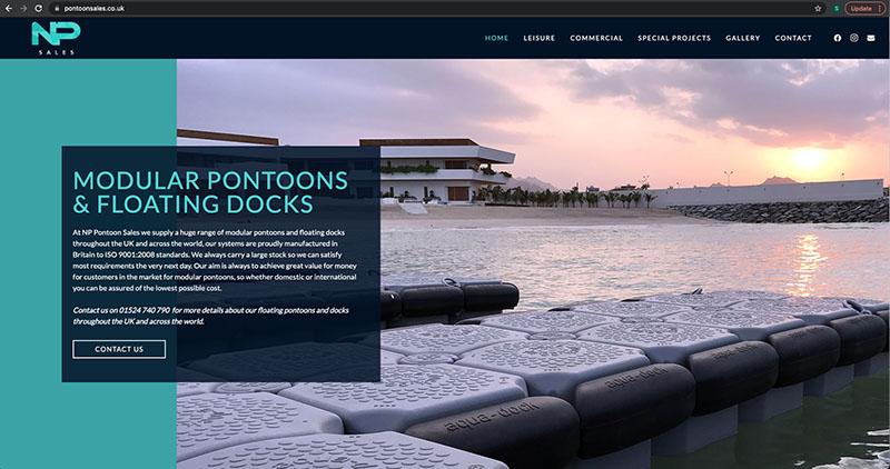 screenshot of the np sales website