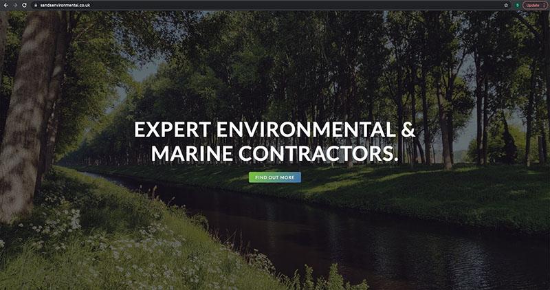 screenshot of the sands environmental website